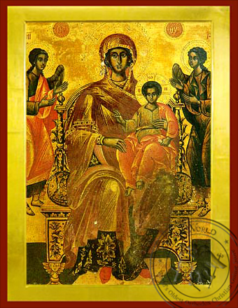 Virgin and Child, Enthroned, Platytera (More Spacious Than Heavens) - Byzantine Icon