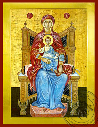 Virgin and Child, Platytera Enthroned - Byzantine Icon