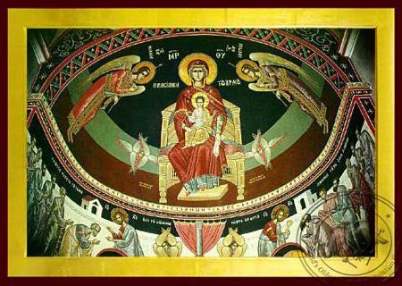 Panagia The Platytera Enthroned - Byzantine Icon