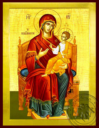 Virgin and Child, Queen of the Universe, Enthroned - Byzantine Icon