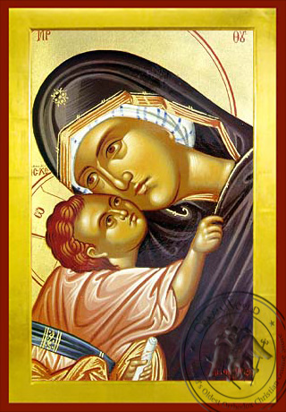 Virgin and Child, Sweet Kissing, Bust - Byzantine Icon