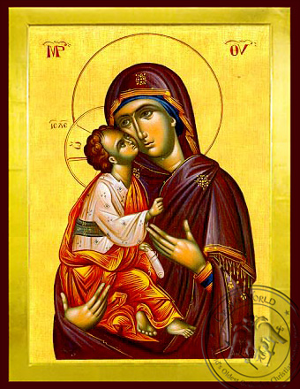 Virgin and Child, Sweet Kissing - Byzantine Icon