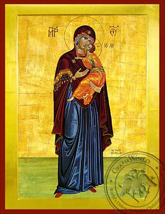 Panagia The Glykophilousa  (standing) - Byzantine Icon