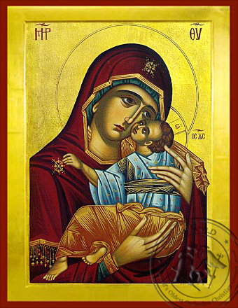 Virgin and Child, Sweet Kissing, Chionon, of Naxos, Greece (Restoration of Prototype) - Byzantine Icon