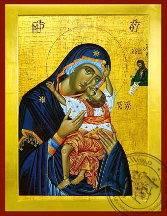Virgin and Child, Sweet Kissing, Kardiotissa - Byzantine Icon