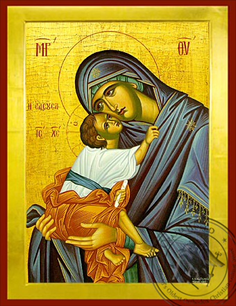 Virgin and Child, Sweet Kissing, Merciful - Byzantine Icon