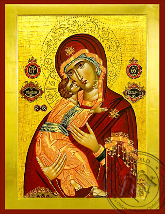 Virgin and Child, Sweet Kissing, Refuge of All - Byzantine Icon