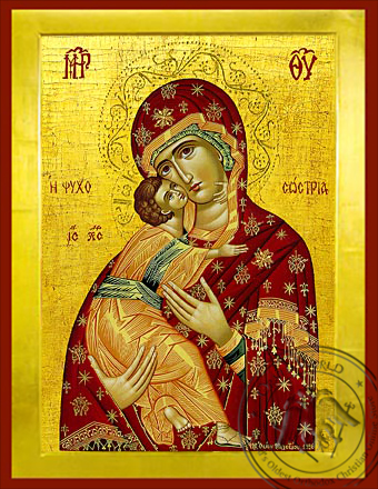 Virgin and Child, Sweet Kissing, Saviour of Souls - Byzantine Icon