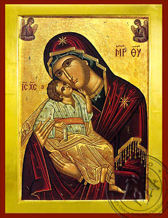 Virgin and Child, Sweet Kissing with Angels - Byzantine Icon
