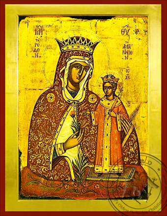 Virgin and Child, Unwithering Rose - Byzantine Icon