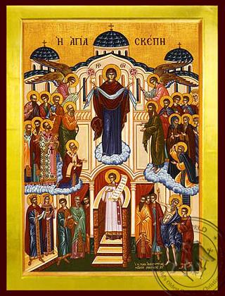 Virgin, Holy Skepe (Protection), Full Body - Byzantine Icon