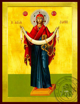 Virgin, the Placing of the Cincture, Full Body - Byzantine Icon