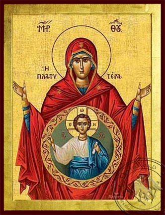Virgin with Christ Platytera (More Spacious than Heaven) - Byzantine Icon