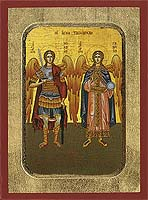 Michael and Gabriel the Holy Archangels - Aged Byzantine Icon