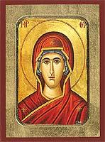 Panagia (Detail) - Aged Byzantine Icon