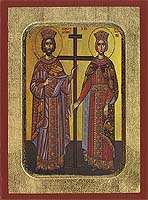 Saint Constantine and Helen - Aged Byzantine Icon