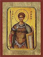 Saint Demetrius - Aged Byzantine Icon