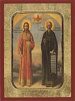 Saint Nikanor & Symeon the new Theologian - Aged Byzantine Icon