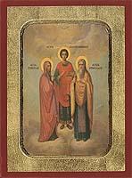 Saint Panteleimon, Euvoule, Ermolaos - Aged Byzantine Icon