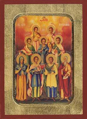 Saint Seven Martyrs Maccavaioi & Solomone - Aged Byzantine Icon