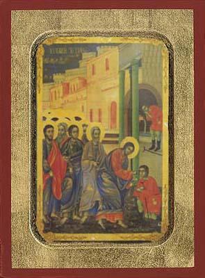 Sunday of the blind - Aged Byzantine Icon