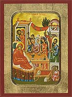 The Birth of the Virgin - Aged Byzantine Icon