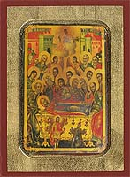 The Dormition of the Virgin - Aged Byzantine Icon