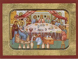 The Marriage at Cana - Aged Byzantine Icon