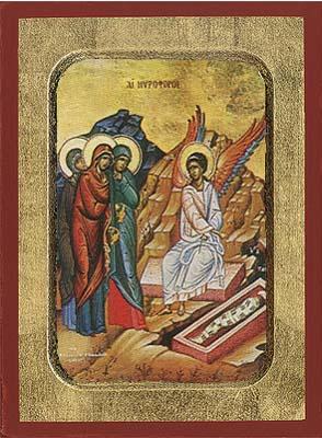 The Myrrh Bearing Women - Aged Byzantine Icon