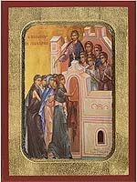 The Parable of the Ten Virgins - Aged Byzantine Icon