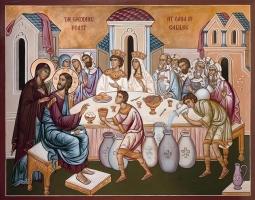 The Wedding at Cana - Aged Byzantine Icon
