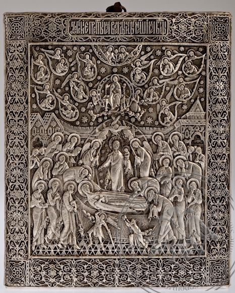 The Dormition of the Mother of God - Handmade Metal Icon