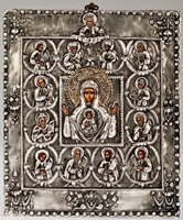 The Holy Virgin and 12 Apostles - Handmade Metal Icon