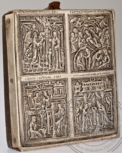 The Holy Virgin with 4 Feasts - Handmade Metal Icon