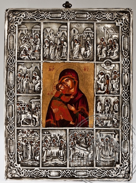 The Holy Virgin with the 12 Feasts - Handmade Metal Icon