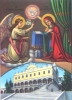 The Annunciation with the temple of Tinos - Nazarene Art Icon