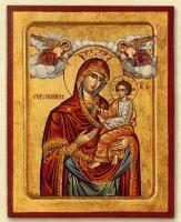 Panagia Gorgoepikoos (Red) - Engraved Silk Printed Icon