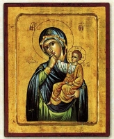 Panagia Paramythia (Blue) - Engraved Silk Printed Icon