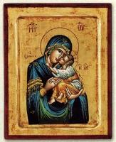Panagia Eleousa (Blue) - Engraved Silk Printed Icon
