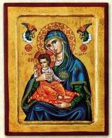 Panagia Sweetness of Angels (Blue) - Engraved Silk Printed Icon