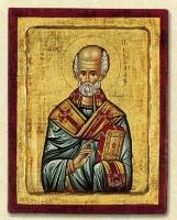 Saint Nikolaos - Engraved Silk Printed Icon