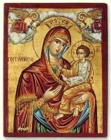 Panagia Gorgoepikoos (Red) - Flat Silk Printed Icon