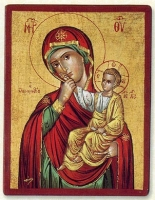 Panagia Paramythia (Red) - Flat Silk Printed Icon