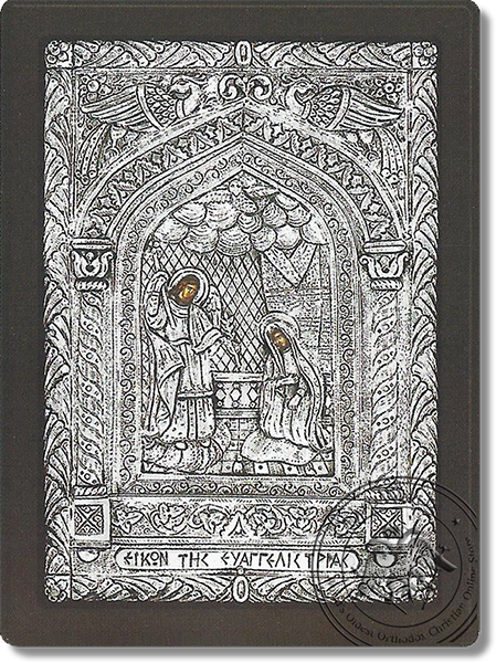 The Annunciation with the temple of Tinos - Silver Icon