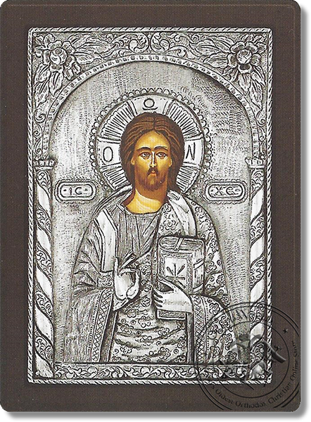 Christ Blessing Closed Gospel - Silver Icon