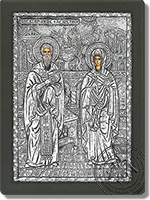Cyprian and Ioustine - Silver Icon