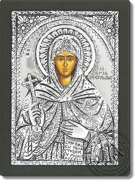 Saint Matrona of Chios - Silver Icon
