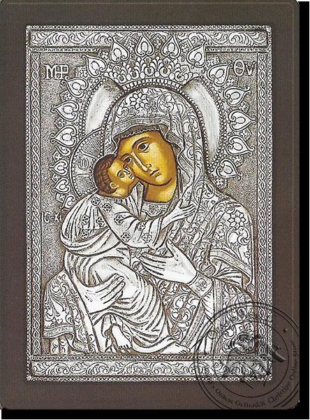 Glykophilousa  Byzantine Style - Silver Icon