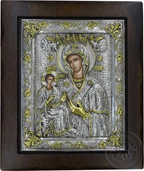 Panagia (Russian) - Silver Gold Plated Icon