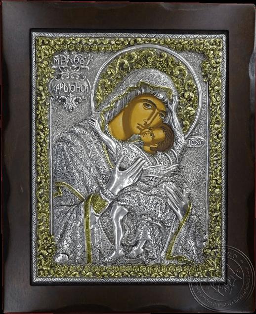Panagia Kardiotissa - Silver Gold Plated Icon